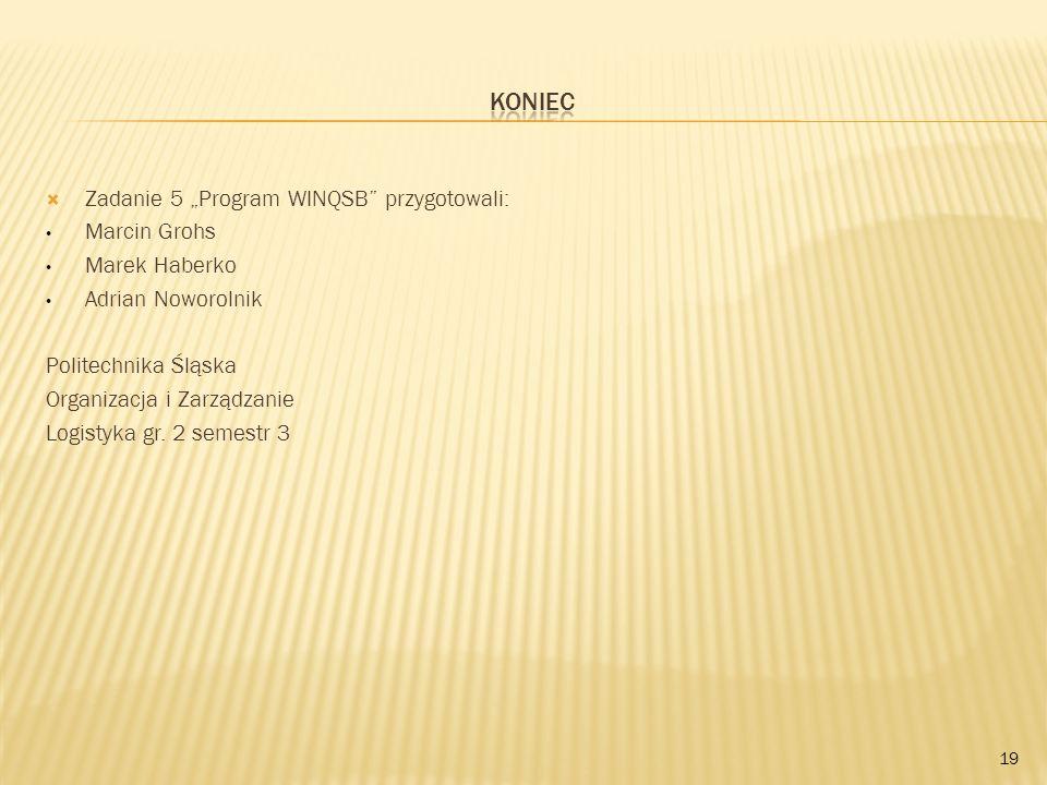 Zadanie 5 Program WINQSB przygotowali: Marcin Grohs Marek Haberko Adrian Noworolnik Politechnika Śląska Organizacja i Zarządzanie Logistyka gr. 2 seme