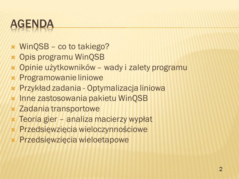 WinQSB – co to takiego? Opis programu WinQSB Opinie użytkowników – wady i zalety programu Programowanie liniowe Przykład zadania - Optymalizacja linio