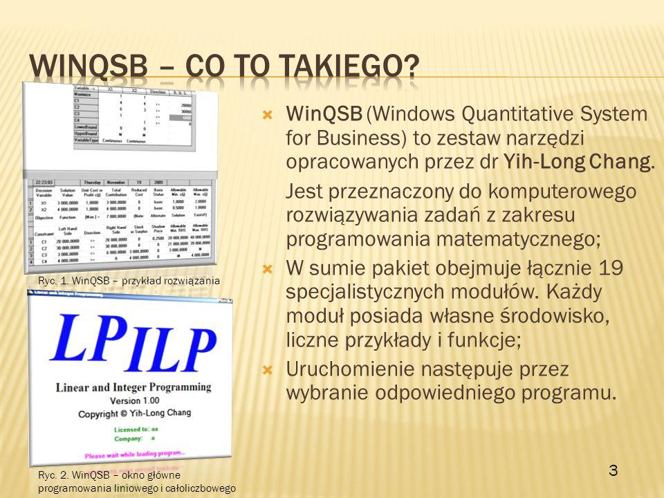 WinQSB (Windows Quantitative System for Business) to zestaw narzędzi opracowanych przez dr Yih-Long Chang. Jest przeznaczony do komputerowego rozwiązy