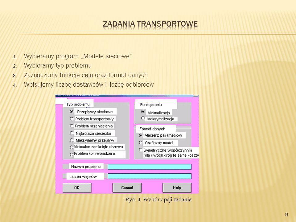 1. Wybieramy program Modele sieciowe 2. Wybieramy typ problemu 3. Zaznaczamy funkcje celu oraz format danych 4. Wpisujemy liczbę dostawców i liczbę od