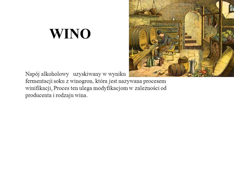 WINO Napój alkoholowy uzyskiwany w wyniku fermentacji soku z winogron, która jest nazywana procesem winifikacji.