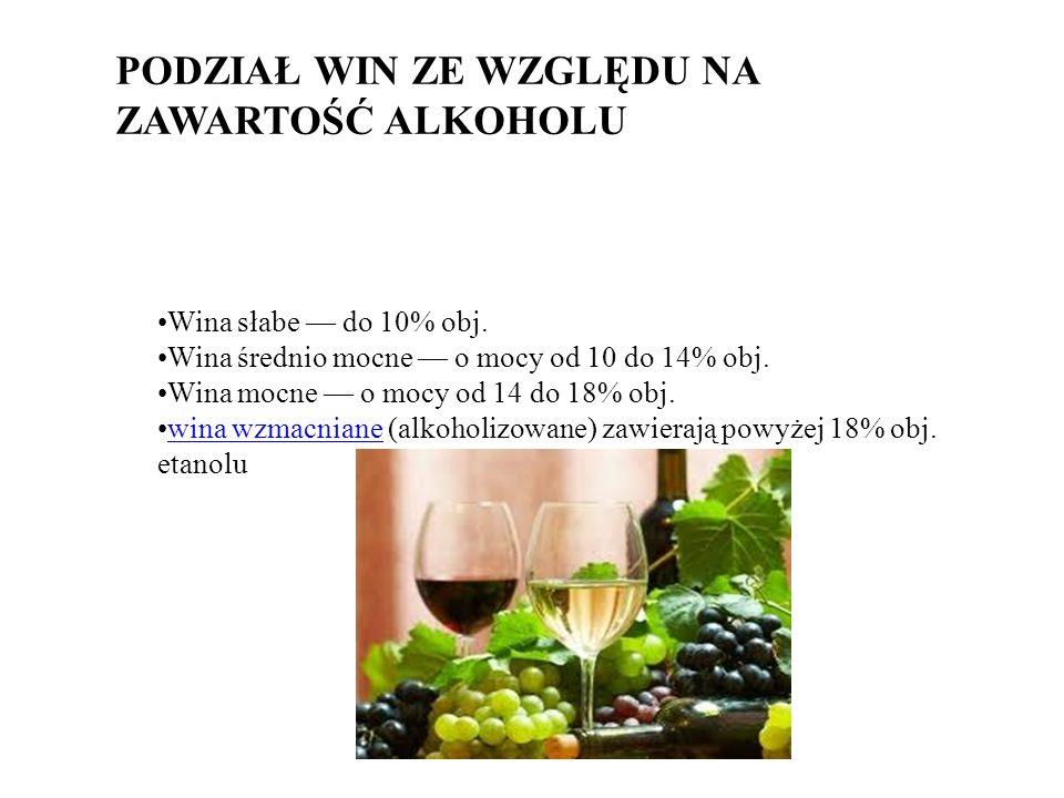 PODZIAŁ WIN ZE WZGLĘDU NA ZAWARTOŚĆ ALKOHOLU Wina słabe do 10% obj.
