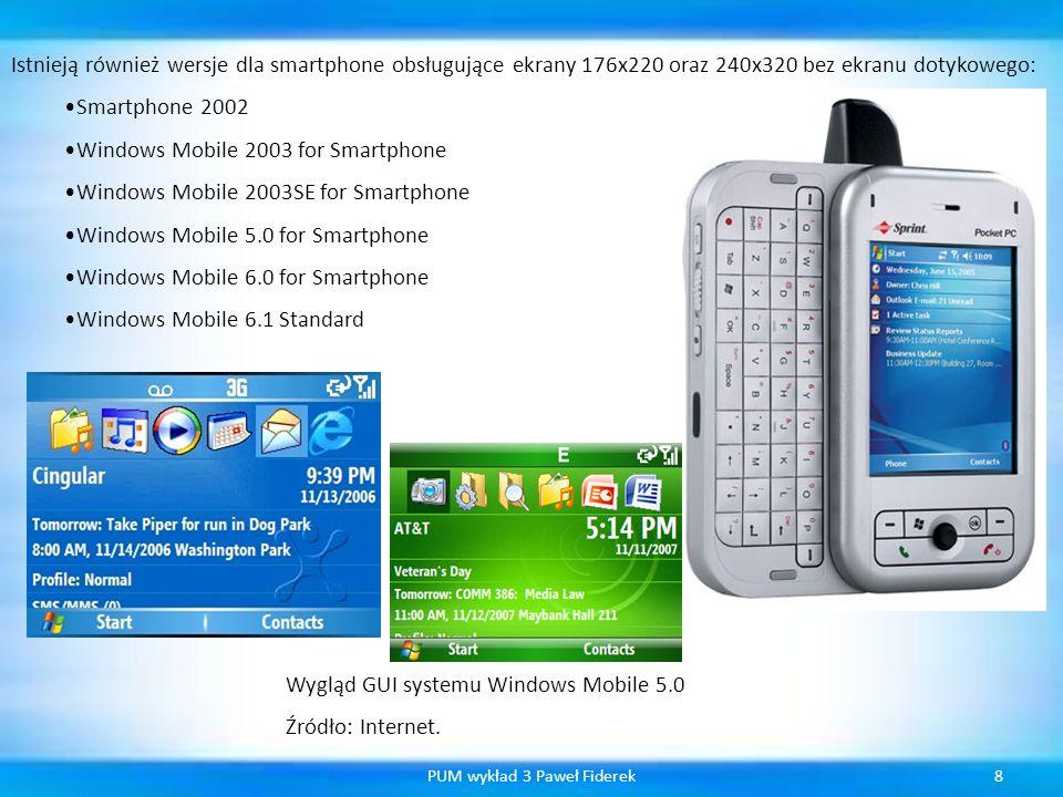Możliwości programistyczne w Windows Mobile 5.0 19PUM wykład 3 Paweł Fiderek Windows Mobile 5.0 zapewnia programistom nowe, liczne interfejsy programistyczne.