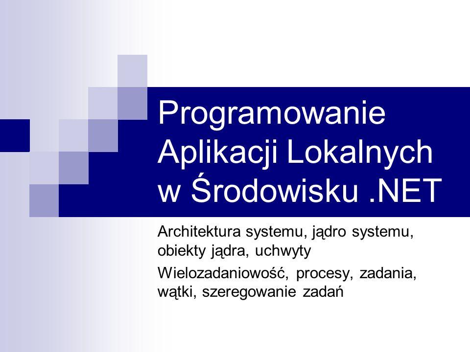 Zadania (Job objects) WINAPI tworzenie nowego zadania: CreateJobObject otwarcie zadania: OpenJobObject przypisanie procesu AssignProcessToJobObject ( -> CREATE_SUSPENDED) tej operacji nie można cofnąć likwidacja zadania CloseHandle zakończenie wszyskich stowarzyszonych procesów TerminateJobObject informacje o zadaniu Set/QueryInformationJobObject Informacje o procesach bez zadań GetProcessIoCounters