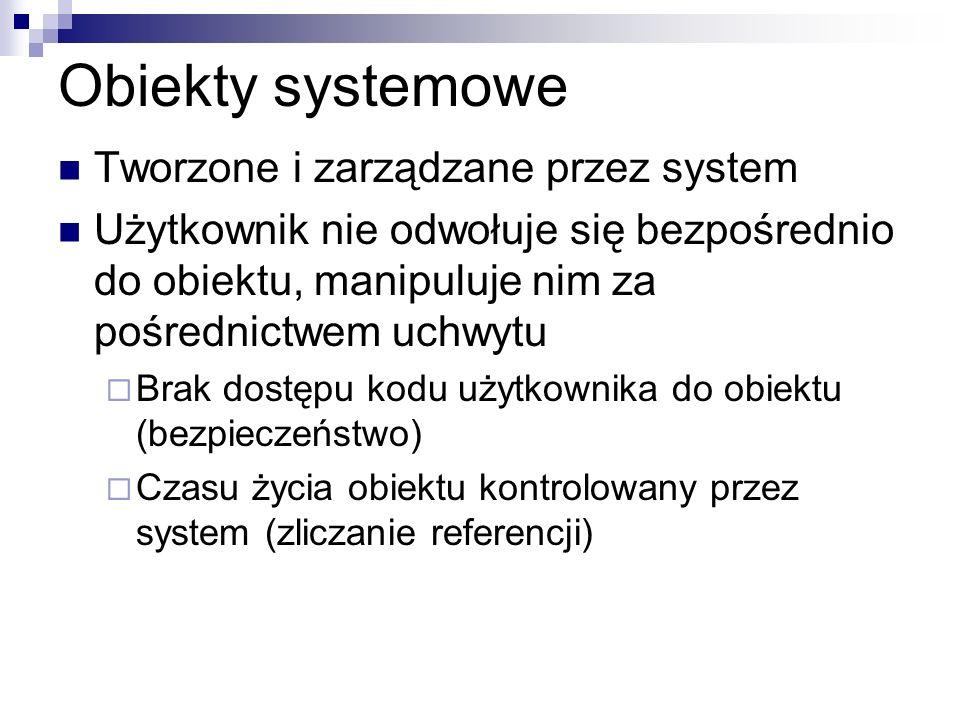 Obiekty systemowe Tworzone i zarządzane przez system Użytkownik nie odwołuje się bezpośrednio do obiektu, manipuluje nim za pośrednictwem uchwytu Brak