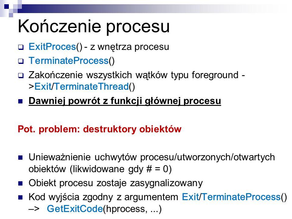 Kończenie procesu ExitProces() - z wnętrza procesu TerminateProcess() Zakończenie wszystkich wątków typu foreground - > Exit/TerminateThread() Dawniej