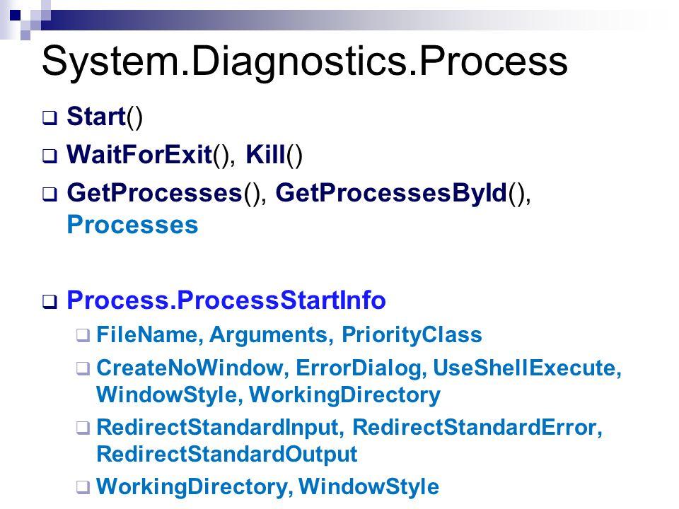 System.Diagnostics.Process Start() WaitForExit(), Kill() GetProcesses(), GetProcessesById(), Processes Process.ProcessStartInfo FileName, Arguments, P