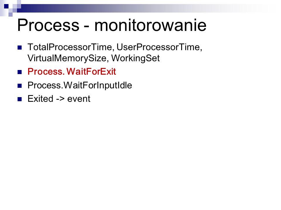 Process - monitorowanie TotalProcessorTime, UserProcessorTime, VirtualMemorySize, WorkingSet Process. WaitForExit Process.WaitForInputIdle Exited -> e