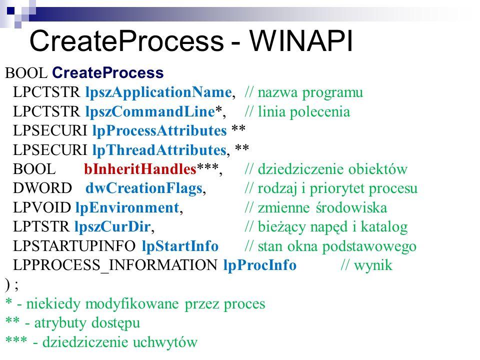CreateProcess - WINAPI BOOL CreateProcess ( LPCTSTR lpszApplicationName,// nazwa programu LPCTSTR lpszCommandLine*,// linia polecenia LPSECURI lpProce