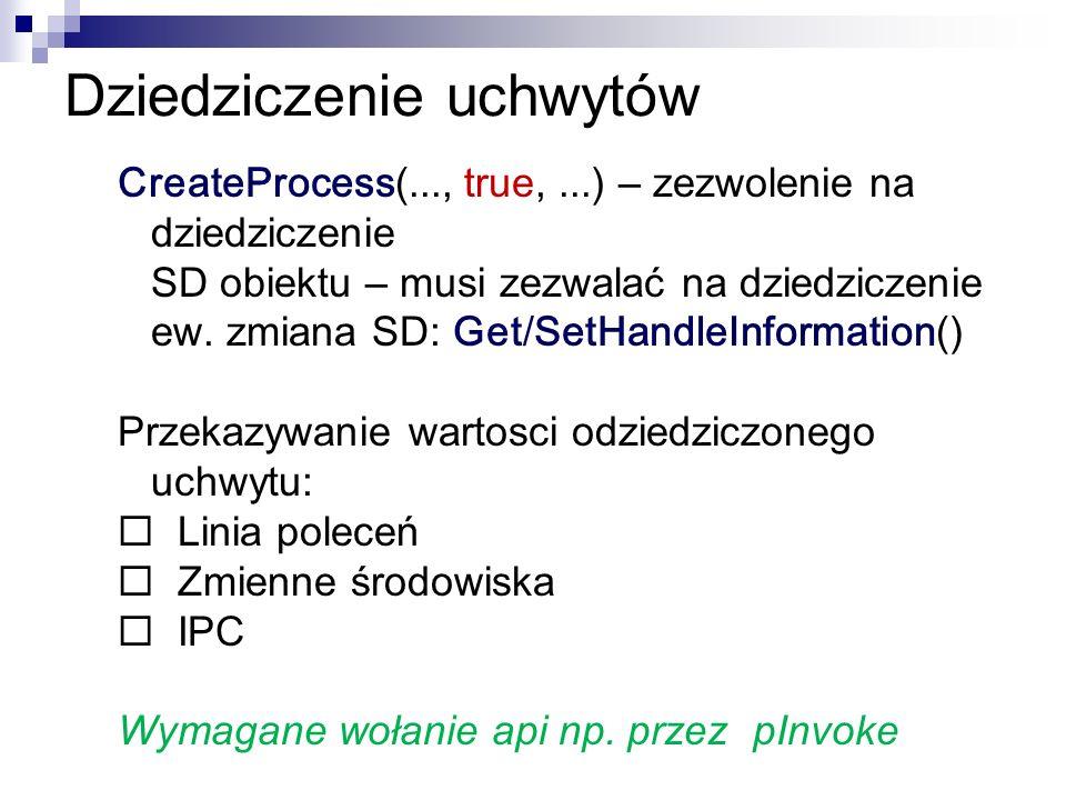 Dziedziczenie uchwytów CreateProcess(..., true,...) – zezwolenie na dziedziczenie SD obiektu – musi zezwalać na dziedziczenie ew. zmiana SD: Get / Set