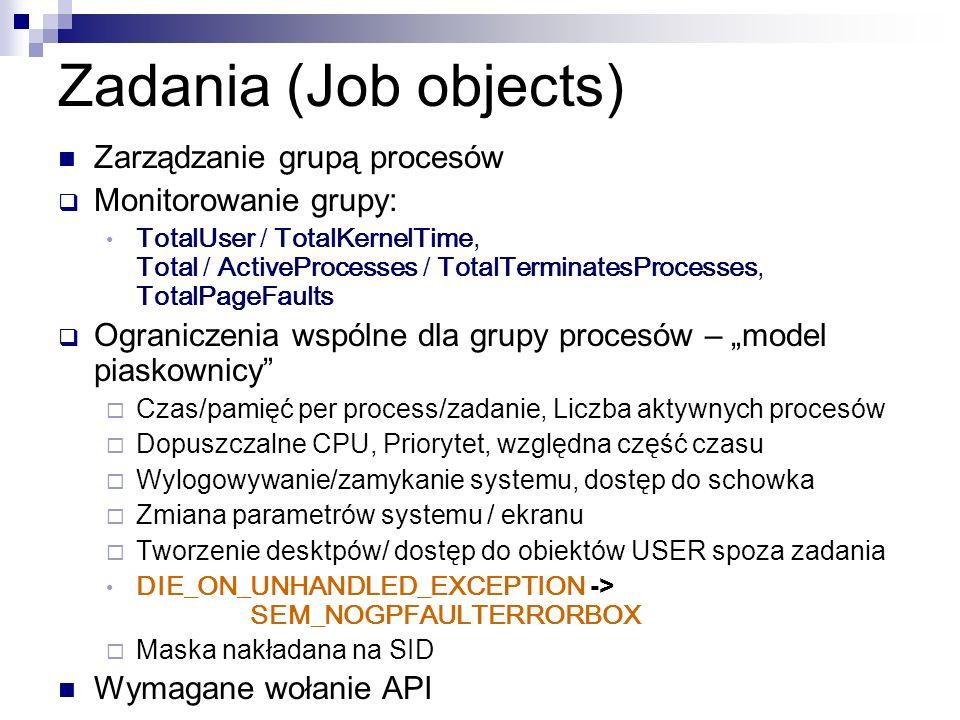 Zadania (Job objects) Zarządzanie grupą procesów Monitorowanie grupy: TotalUser / TotalKernelTime, Total / ActiveProcesses / TotalTerminatesProcesses,
