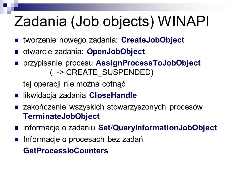 Zadania (Job objects) WINAPI tworzenie nowego zadania: CreateJobObject otwarcie zadania: OpenJobObject przypisanie procesu AssignProcessToJobObject (