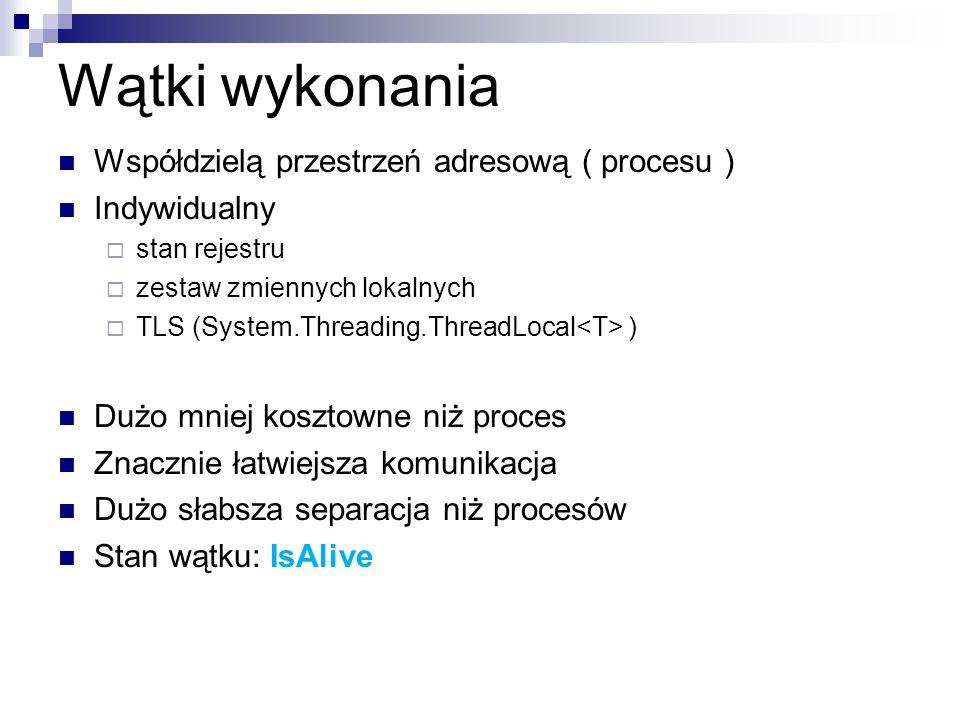 Wątki wykonania Współdzielą przestrzeń adresową ( procesu ) Indywidualny stan rejestru zestaw zmiennych lokalnych TLS (System.Threading.ThreadLocal )