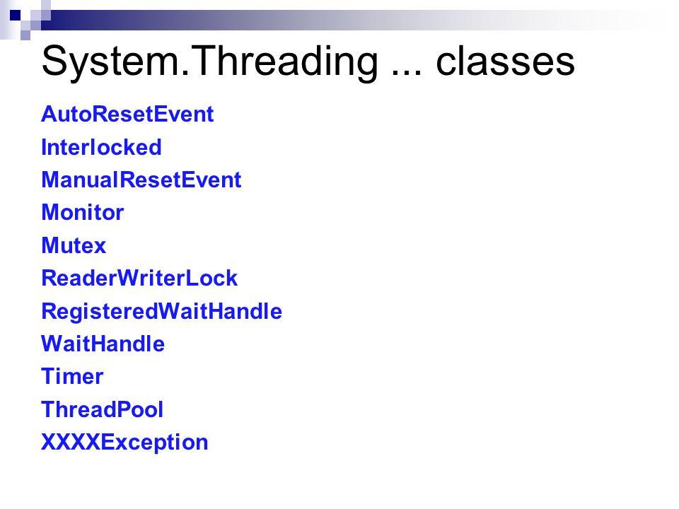 System.Threading... classes AutoResetEvent Interlocked ManualResetEvent Monitor Mutex ReaderWriterLock RegisteredWaitHandle WaitHandle Timer ThreadPoo