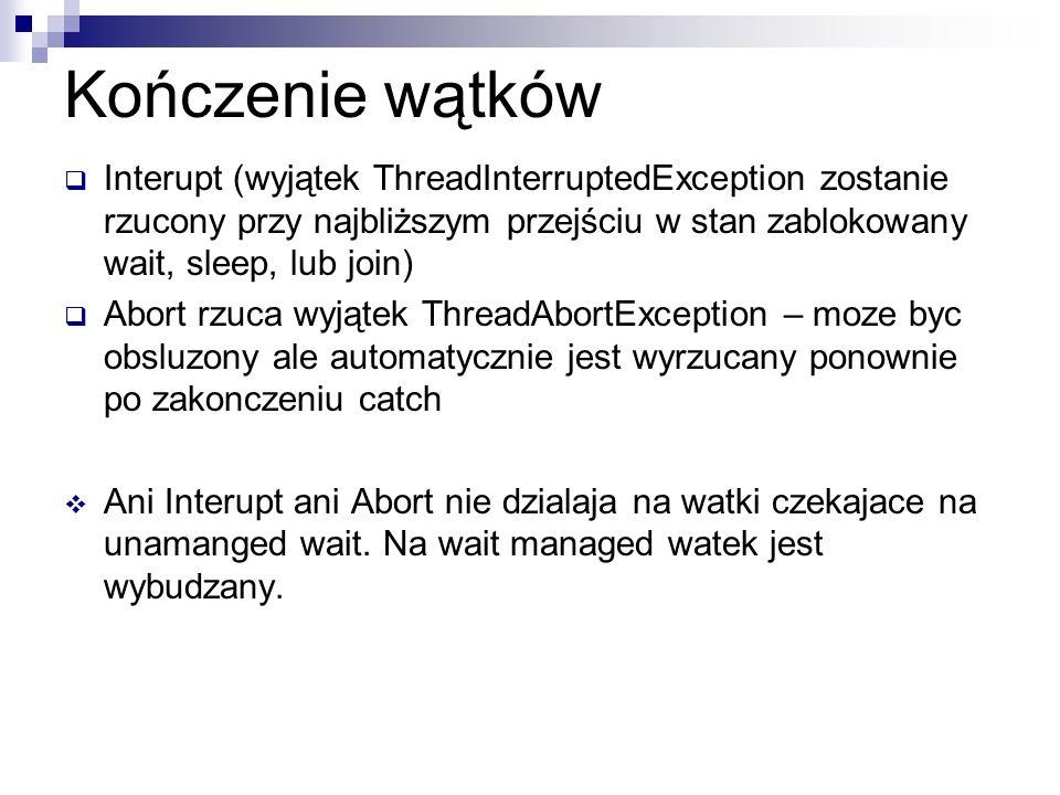 Kończenie wątków Interupt (wyjątek ThreadInterruptedException zostanie rzucony przy najbliższym przejściu w stan zablokowany wait, sleep, lub join) Ab