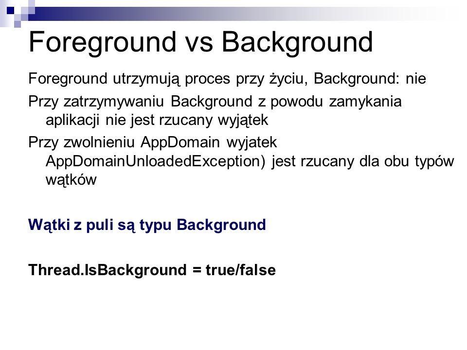 Foreground vs Background Foreground utrzymują proces przy życiu, Background: nie Przy zatrzymywaniu Background z powodu zamykania aplikacji nie jest r