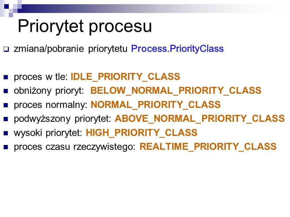 Priorytet procesu zmiana/pobranie priorytetu Process.PriorityClass proces w tle: IDLE_PRIORITY_CLASS obniżony prioryt: BELOW_NORMAL_PRIORITY_CLASS pro