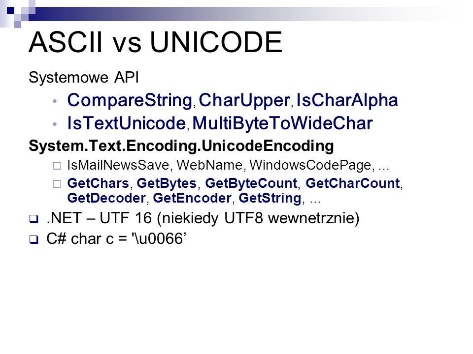 ASCII vs UNICODE Systemowe API CompareString, CharUpper, IsCharAlpha IsTextUnicode, MultiByteToWideChar System.Text.Encoding.UnicodeEncoding IsMailNew