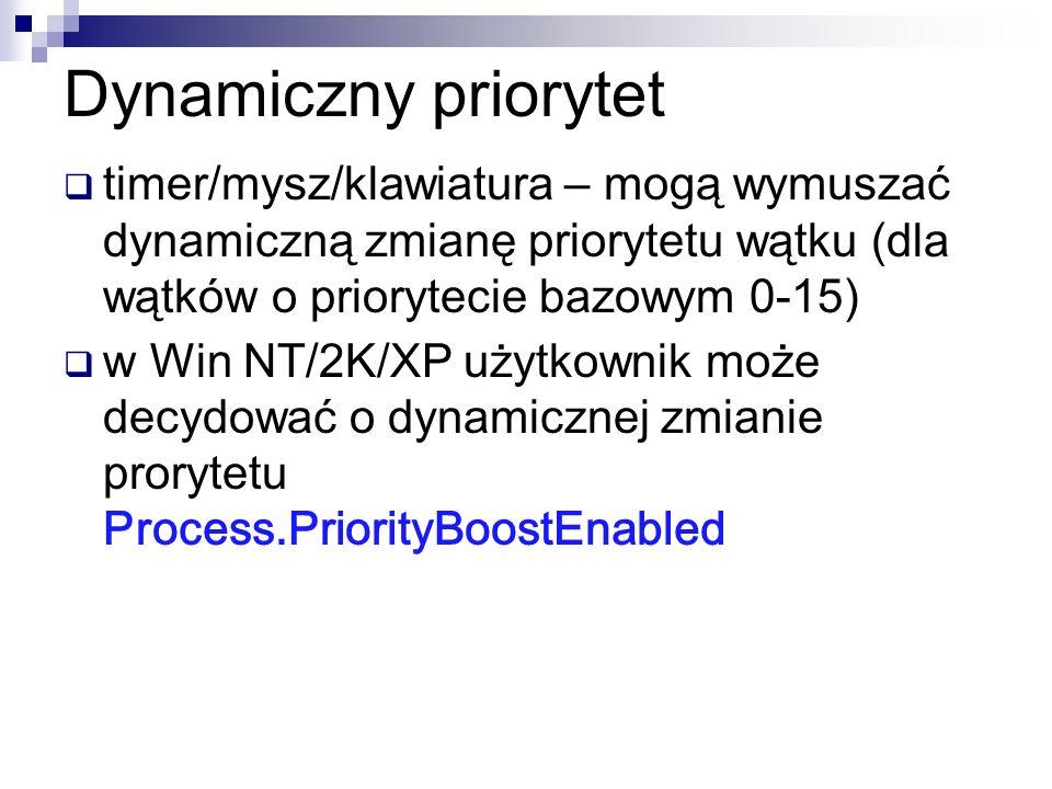 Dynamiczny priorytet timer/mysz/klawiatura – mogą wymuszać dynamiczną zmianę priorytetu wątku (dla wątków o priorytecie bazowym 0-15) w Win NT/2K/XP u