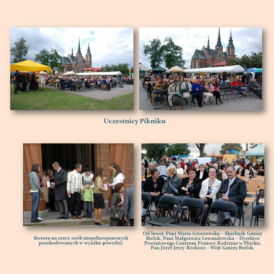 Uczestnicy Pikniku Kwesta na rzecz osób niepełnosprawnych poszkodowanych w wyniku powodzi. Od lewej: Pani Maria Groszewska – Skarbnik Gminy Bielsk, Pa
