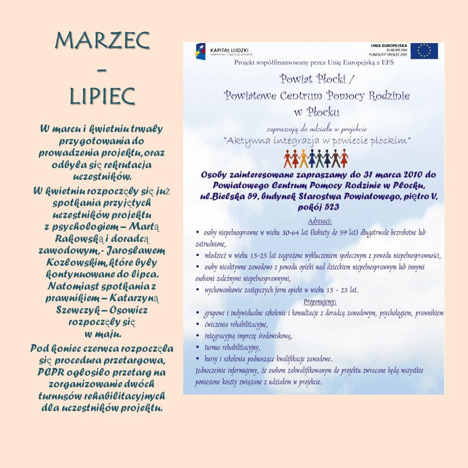 MARZEC - LIPIEC W marcu i kwietniu trwały przygotowania do prowadzenia projektu, oraz odbyła si ę rekrutacja uczestników. W kwietniu rozpocz ę ły si ę