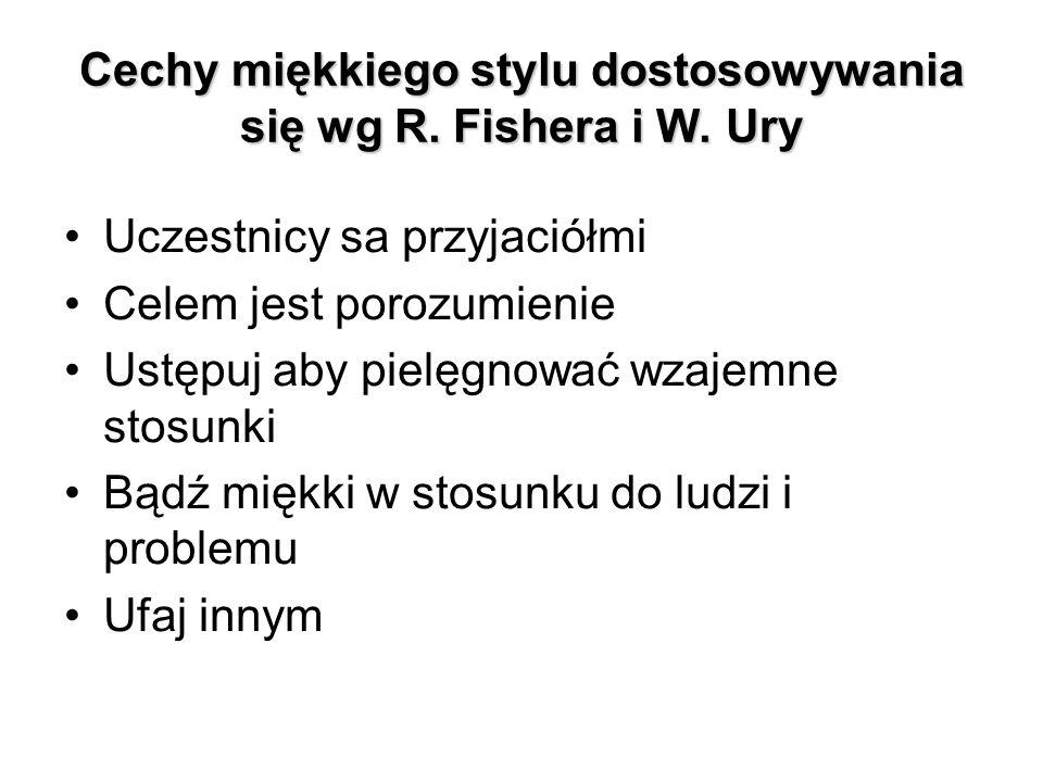 Cechy miękkiego stylu dostosowywania się wg R. Fishera i W. Ury Uczestnicy sa przyjaciółmi Celem jest porozumienie Ustępuj aby pielęgnować wzajemne st