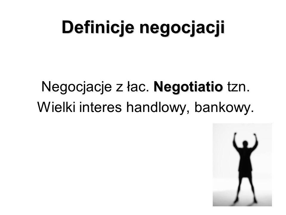 Definicje negocjacji Negotiatio Negocjacje z łac. Negotiatio tzn. Wielki interes handlowy, bankowy.