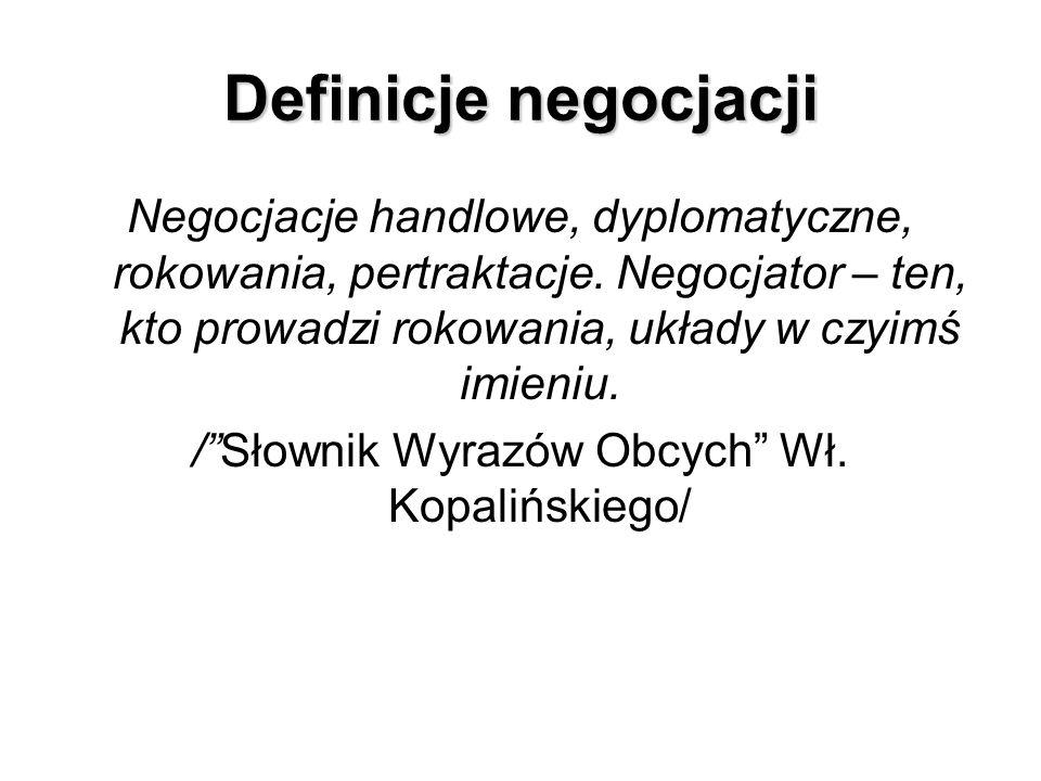 Negocjacje handlowe, dyplomatyczne, rokowania, pertraktacje. Negocjator – ten, kto prowadzi rokowania, układy w czyimś imieniu. /Słownik Wyrazów Obcyc
