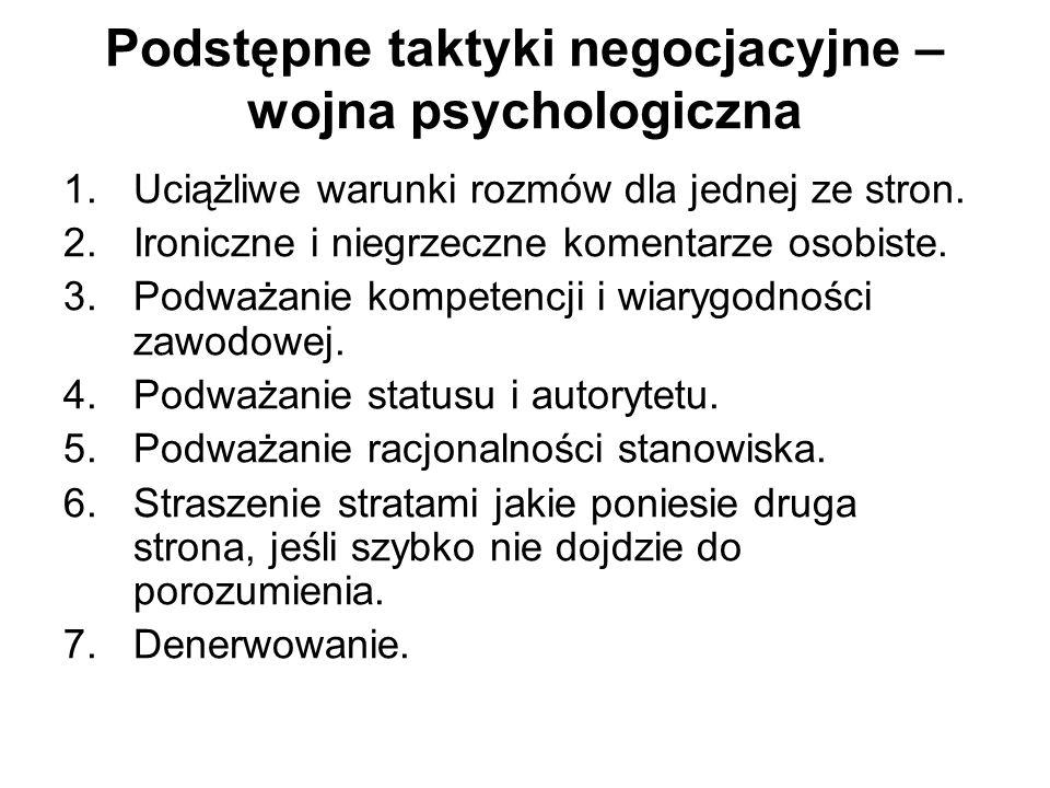 Podstępne taktyki negocjacyjne – wojna psychologiczna 1.Uciążliwe warunki rozmów dla jednej ze stron. 2.Ironiczne i niegrzeczne komentarze osobiste. 3