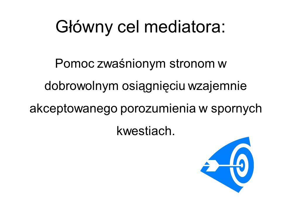 Główny cel mediatora: Pomoc zwaśnionym stronom w dobrowolnym osiągnięciu wzajemnie akceptowanego porozumienia w spornych kwestiach.