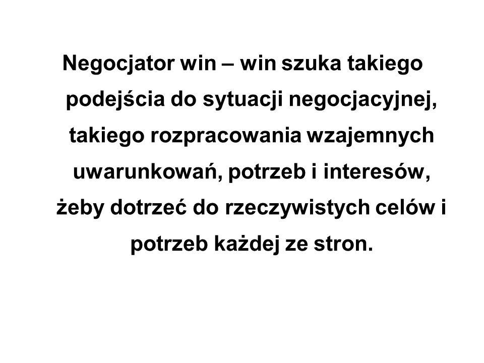 Negocjator win – win szuka takiego podejścia do sytuacji negocjacyjnej, takiego rozpracowania wzajemnych uwarunkowań, potrzeb i interesów, żeby dotrze