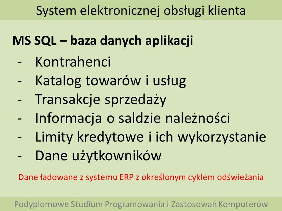 System elektronicznej obsługi klienta Podyplomowe Studium Programowania i Zastosowań Komputerów MS SQL – baza danych aplikacji -Kontrahenci -Katalog t