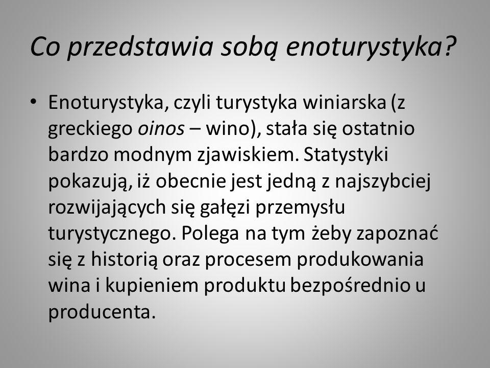 Co przedstawia sobą enoturystyka? Enoturystyka, czyli turystyka winiarska (z greckiego oinos – wino), stała się ostatnio bardzo modnym zjawiskiem. Sta