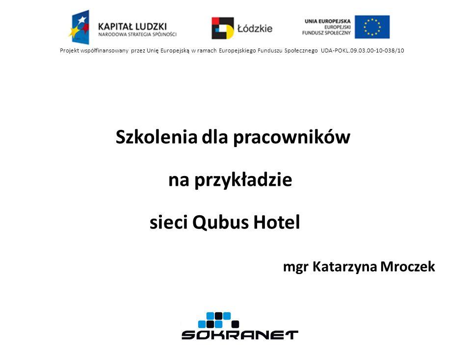 Szkolenia dla pracowników na przykładzie sieci Qubus Hotel mgr Katarzyna Mroczek Projekt współfinansowany przez Unię Europejską w ramach Europejskiego Funduszu Społecznego UDA-POKL.09.03.00-10-038/10