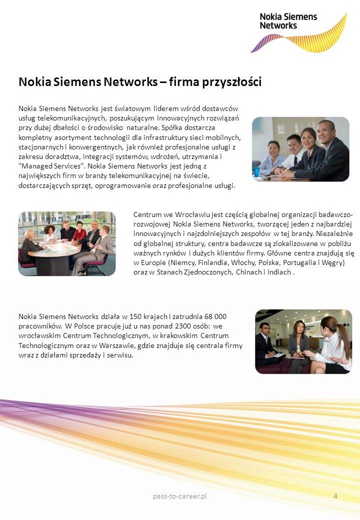 Nokia Siemens Networks – firma przyszłości Nokia Siemens Networks jest światowym liderem wśród dostawców usług telekomunikacyjnych, poszukującym innow