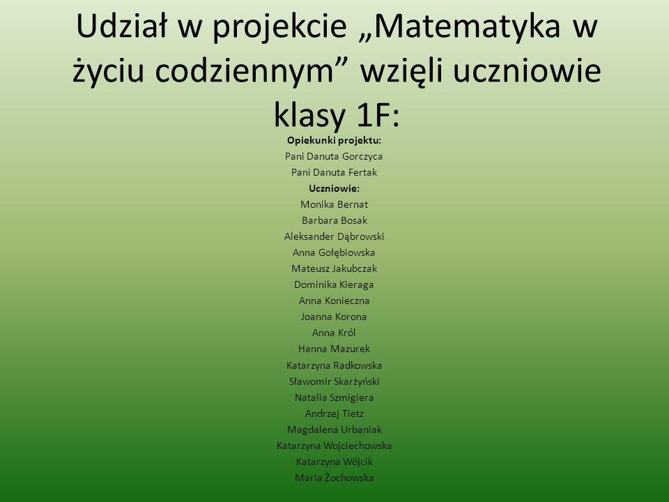 Udział w projekcie Matematyka w życiu codziennym wzięli uczniowie klasy 1F: Opiekunki projektu: Pani Danuta Gorczyca Pani Danuta Fertak Uczniowie: Mon