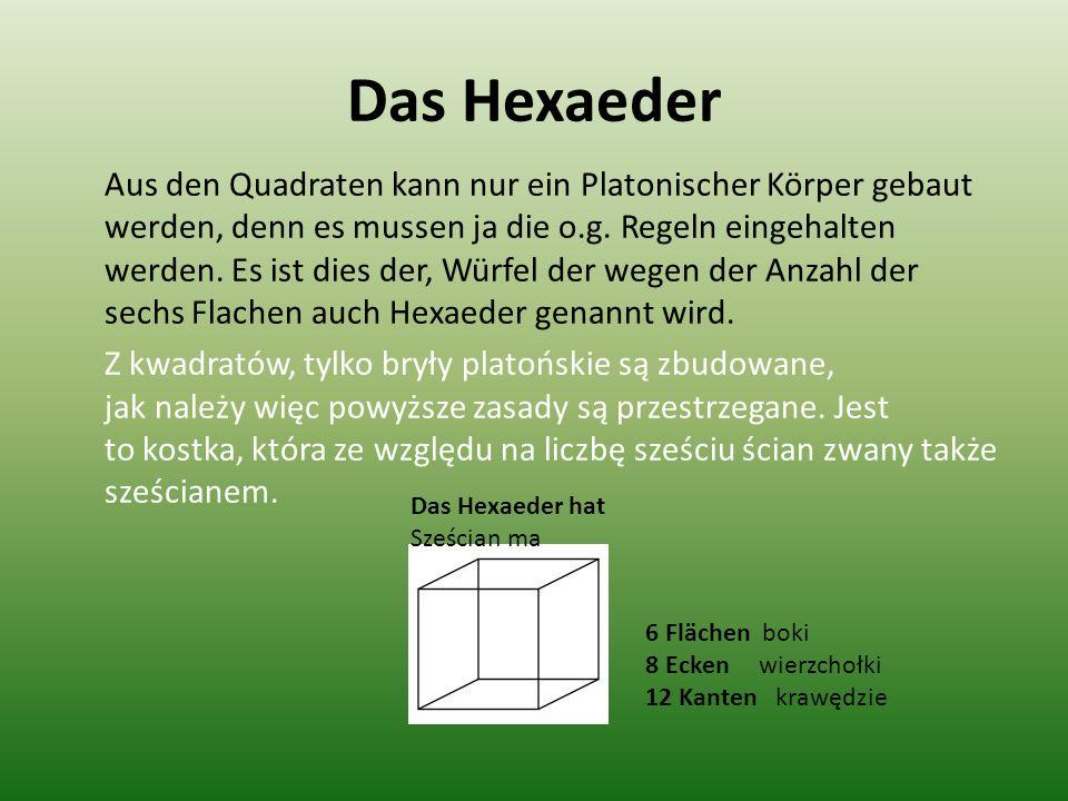 Das Hexaeder Aus den Quadraten kann nur ein Platonischer Körper gebaut werden, denn es mussen ja die o.g. Regeln eingehalten werden. Es ist dies der,