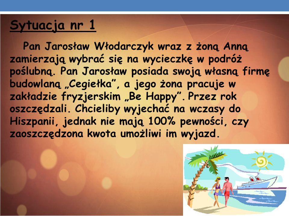 Sytuacja nr 1 Pan Jarosław Włodarczyk wraz z żoną Anną zamierzają wybrać się na wycieczkę w podróż poślubną. Pan Jarosław posiada swoją własną firmę b