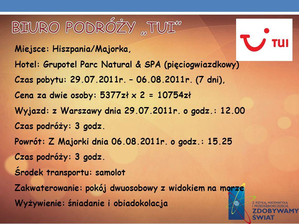 Miejsce: Hiszpania/Majorka, Hotel: Grupotel Parc Natural & SPA (pięciogwiazdkowy) Czas pobytu: 29.07.2011r. – 06.08.2011r. (7 dni), Cena za dwie osoby