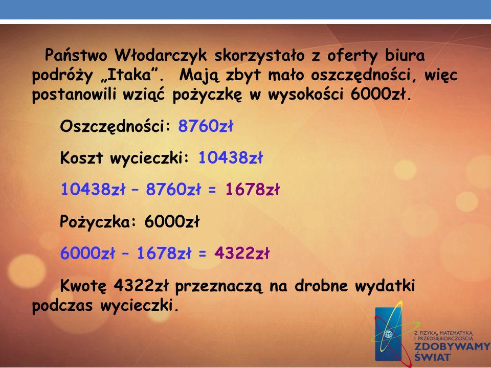 Państwo Włodarczyk skorzystało z oferty biura podróży Itaka. Mają zbyt mało oszczędności, więc postanowili wziąć pożyczkę w wysokości 6000zł. Oszczędn