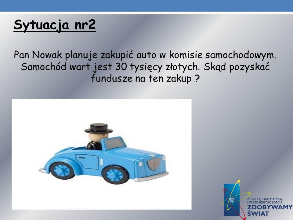 Sytuacja nr2 Pan Nowak planuje zakupić auto w komisie samochodowym. Samochód wart jest 30 tysięcy złotych. Skąd pozyskać fundusze na ten zakup ?