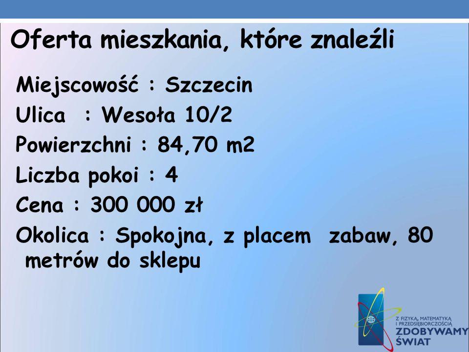 Oferta mieszkania, które znaleźli Miejscowość : Szczecin Ulica : Wesoła 10/2 Powierzchni : 84,70 m2 Liczba pokoi : 4 Cena : 300 000 zł Okolica : Spoko
