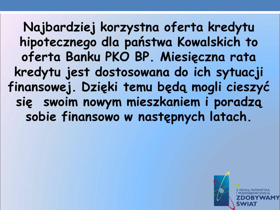 Najbardziej korzystna oferta kredytu hipotecznego dla państwa Kowalskich to oferta Banku PKO BP. Miesięczna rata kredytu jest dostosowana do ich sytua
