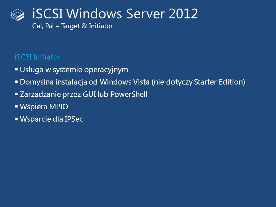 iSCSI Initiator Usługa w systemie operacyjnym Domyślna instalacja od Windows Vista (nie dotyczy Starter Edition) Zarządzanie przez GUI lub PowerShell
