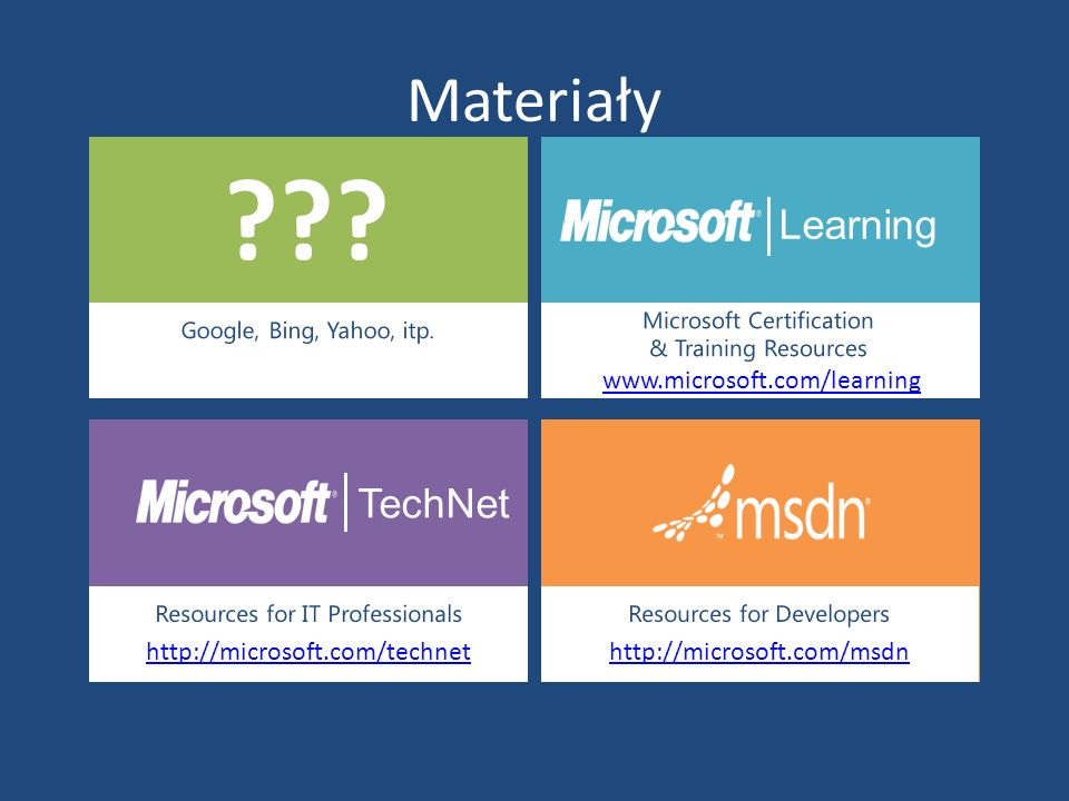 Materiały Google, Bing, Yahoo, itp. Learning Microsoft Certification & Training Resources www.microsoft.com/learning TechNet Resources for IT Professi