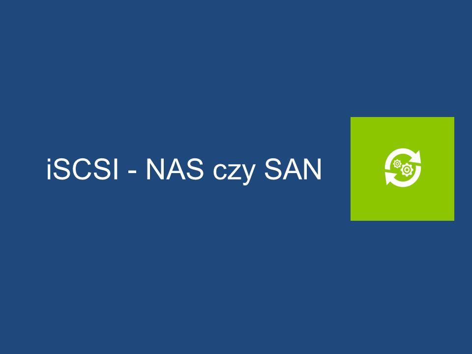 NAS – Network Attached Storage Zasób plikowy podłączony do sieci System plików po stronie serwera Dostęp dla klientów Prosta administracja zwłaszcza w rozwiązaniach domowych Niski koszt wdrożenia Połączenia z wykorzystaniem istniejącej infrastruktury sieciowej Protokoły: NFS, SMB, FTP, rsync, itp.