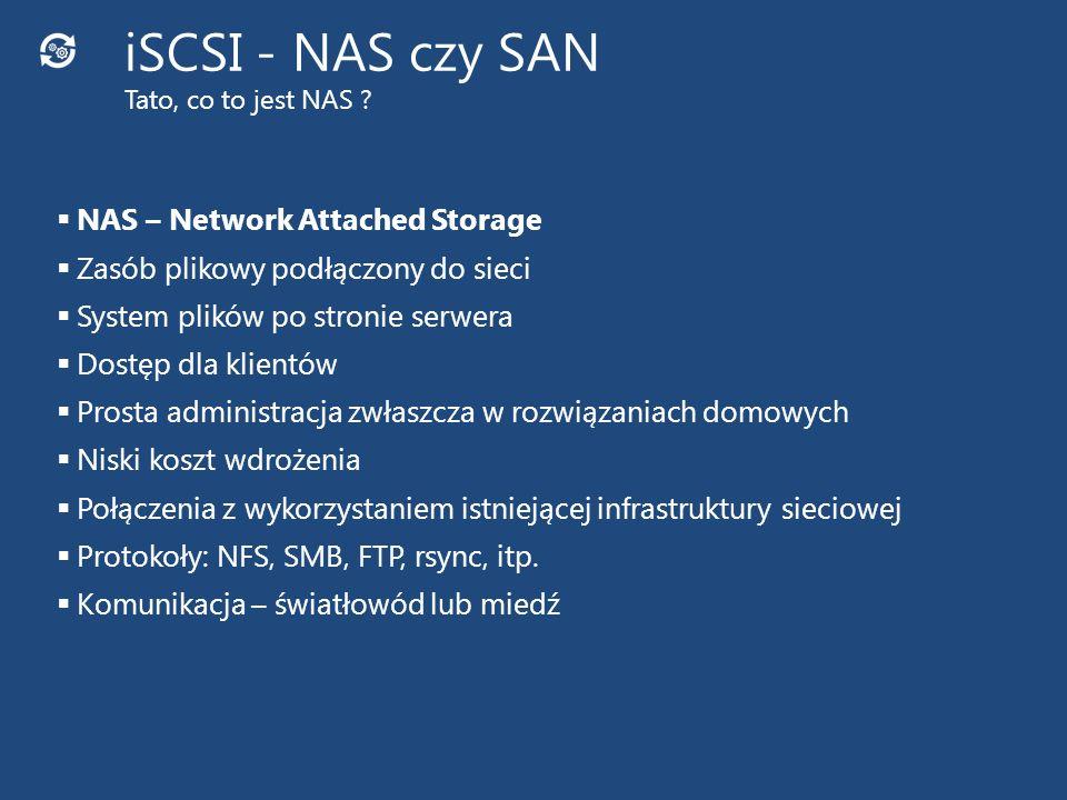 SAN – Storage Area Network Dostęp do zasobów poprzez LUN (Logical Unit Number) System plików po stronie klienta Składowanie danych: Macierz Biblioteka taśmowa Biblioteka optyczna Często niezależna infrastruktura Duży koszt wdrożenia Połączenia z wykorzystaniem Fibre Chanel, iSCSI, AoE, itp.