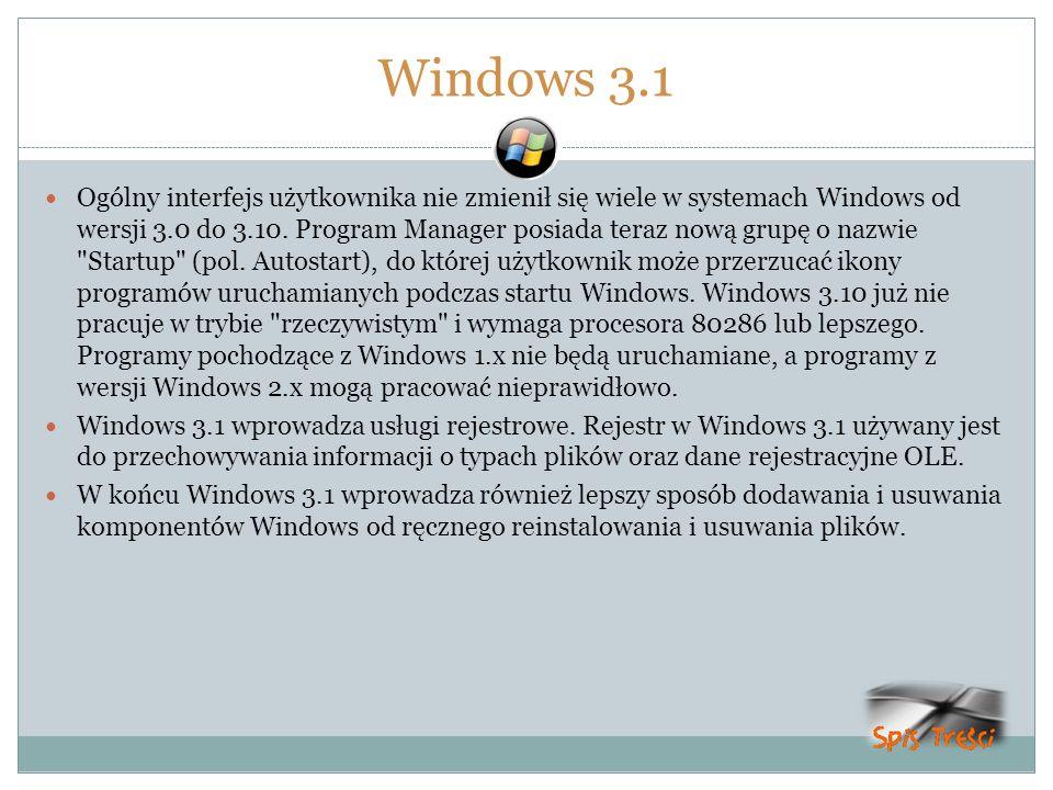 Windows 3.1 Ogólny interfejs użytkownika nie zmienił się wiele w systemach Windows od wersji 3.0 do 3.10. Program Manager posiada teraz nową grupę o n