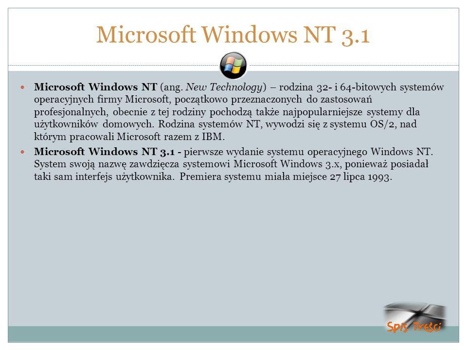 Microsoft Windows NT 3.1 Microsoft Windows NT (ang. New Technology) – rodzina 32- i 64-bitowych systemów operacyjnych firmy Microsoft, początkowo prze