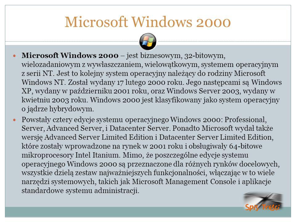 Microsoft Windows 2000 Microsoft Windows 2000 – jest biznesowym, 32-bitowym, wielozadaniowym z wywłaszczaniem, wielowątkowym, systemem operacyjnym z s